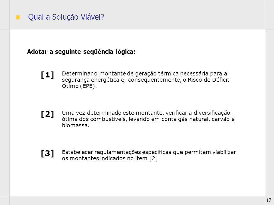 Qual a Solução Viável [1] [2] [3] Adotar a seguinte seqüência lógica: